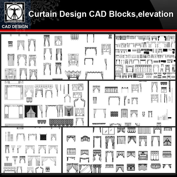 ★【Curtain Design Autocad Blocks,elevation Collections】All kinds of Curtain CAD Blocks - CAD Design | Download CAD Drawings | AutoCAD Blocks | AutoCAD Symbols | CAD Drawings | Architecture Details│Landscape Details | See more about AutoCAD, Cad Drawing and Architecture Details