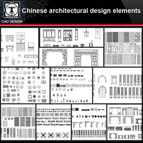★【Chinese Architecture Design CAD elements V1】All kinds of Chinese Architectural CAD Drawings Bundle - CAD Design | Download CAD Drawings | AutoCAD Blocks | AutoCAD Symbols | CAD Drawings | Architecture Details│Landscape Details | See more about AutoCAD, Cad Drawing and Architecture Details