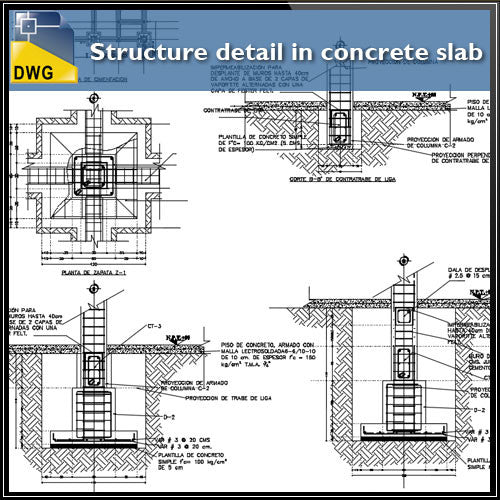 Structure detail in concrete slab