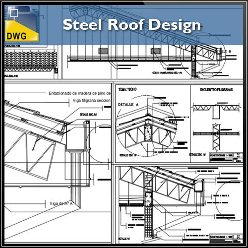 Steel Roof Design - CAD Design | Download CAD Drawings | AutoCAD Blocks | AutoCAD Symbols | CAD Drawings | Architecture Details│Landscape Details | See more about AutoCAD, Cad Drawing and Architecture Details