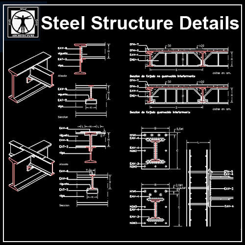Free Steel Structure Details 5 - CAD Design | Download CAD Drawings | AutoCAD Blocks | AutoCAD Symbols | CAD Drawings | Architecture Details│Landscape Details | See more about AutoCAD, Cad Drawing and Architecture Details