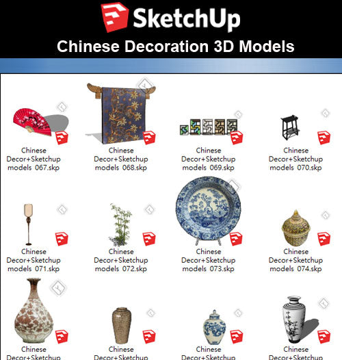 【Sketchup 3D Models】41 Types of Chinese Decor Elements  Sketchup models V.2