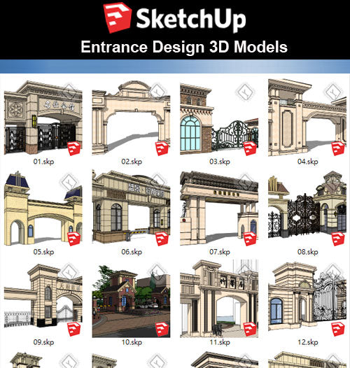【Sketchup 3D Models】25 Types of Entrance & Door Design 3D Models