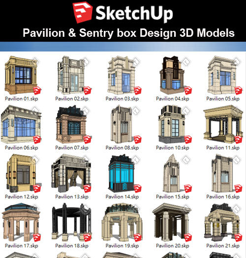 【Sketchup 3D Models】26 Types of European Pavilion 3D Models