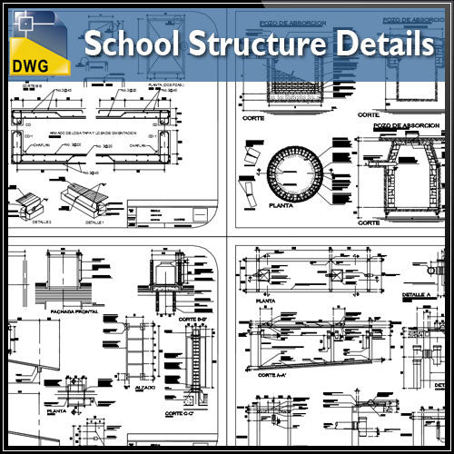 School Structure Details - CAD Design | Download CAD Drawings | AutoCAD Blocks | AutoCAD Symbols | CAD Drawings | Architecture Details│Landscape Details | See more about AutoCAD, Cad Drawing and Architecture Details