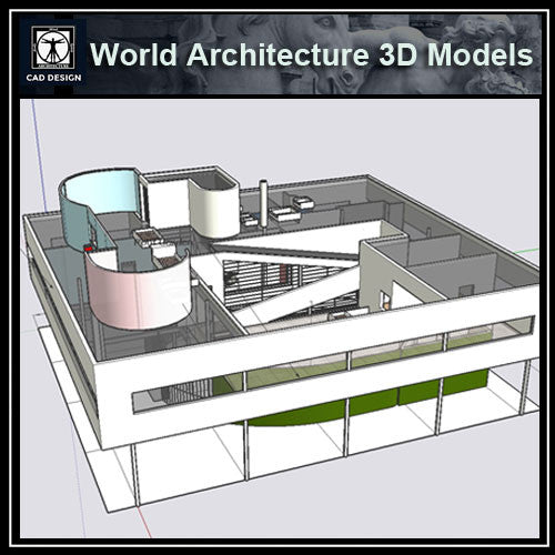 Sketchup 3D Architecture models-Villa Savoye(Le Corbusier) - CAD Design | Download CAD Drawings | AutoCAD Blocks | AutoCAD Symbols | CAD Drawings | Architecture Details│Landscape Details | See more about AutoCAD, Cad Drawing and Architecture Details