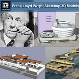 16 Projects of Frank Lloyd Wright Architecture Sketchup 3D Models(Recommanded!!) - CAD Design | Download CAD Drawings | AutoCAD Blocks | AutoCAD Symbols | CAD Drawings | Architecture Details│Landscape Details | See more about AutoCAD, Cad Drawing and Architecture Details