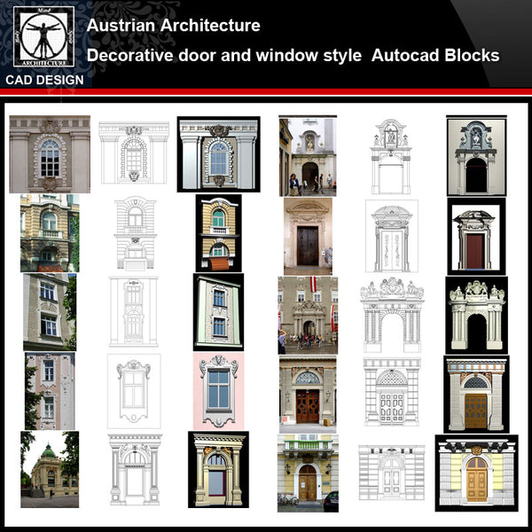 ★【Austrian Architecture Style Design】Austrian architecture · Decorative door and window style CAD Drawings - CAD Design | Download CAD Drawings | AutoCAD Blocks | AutoCAD Symbols | CAD Drawings | Architecture Details│Landscape Details | See more about AutoCAD, Cad Drawing and Architecture Details