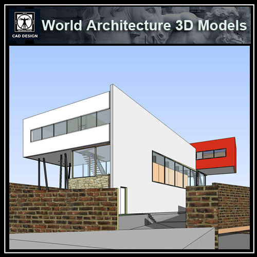 Sketchup 3D Architecture models- Villa dall' Ava(Rem Koolhaas ) - CAD Design | Download CAD Drawings | AutoCAD Blocks | AutoCAD Symbols | CAD Drawings | Architecture Details│Landscape Details | See more about AutoCAD, Cad Drawing and Architecture Details