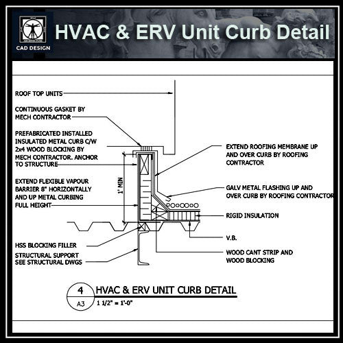 Free CAD Details-HVAC & ERV Unit Curb Detail - CAD Design | Download CAD Drawings | AutoCAD Blocks | AutoCAD Symbols | CAD Drawings | Architecture Details│Landscape Details | See more about AutoCAD, Cad Drawing and Architecture Details