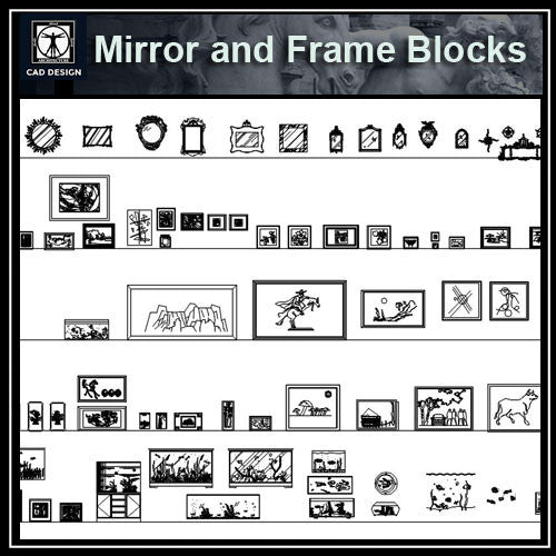 Free Interior Decorative blocks-Mirrors and picture frames - CAD Design | Download CAD Drawings | AutoCAD Blocks | AutoCAD Symbols | CAD Drawings | Architecture Details│Landscape Details | See more about AutoCAD, Cad Drawing and Architecture Details