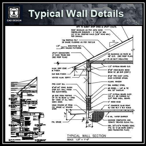 CAD Details Collection-Typical Wall Details - CAD Design | Download CAD Drawings | AutoCAD Blocks | AutoCAD Symbols | CAD Drawings | Architecture Details│Landscape Details | See more about AutoCAD, Cad Drawing and Architecture Details
