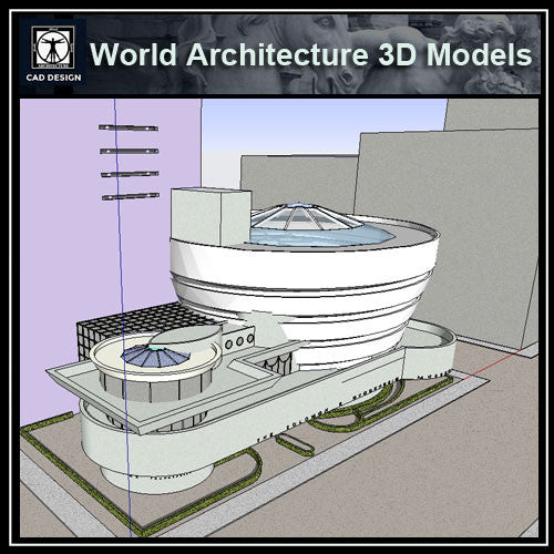 Sketchup 3D Architecture models-Guggenheim Museum(Frank Lloyd Wright) - CAD Design | Download CAD Drawings | AutoCAD Blocks | AutoCAD Symbols | CAD Drawings | Architecture Details│Landscape Details | See more about AutoCAD, Cad Drawing and Architecture Details