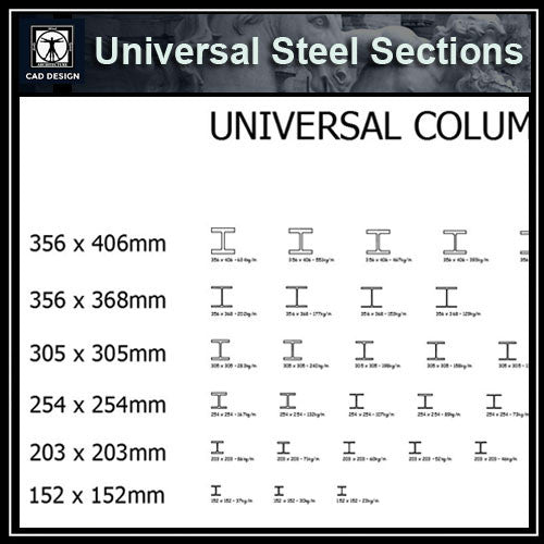 Free CAD Details-Universal Steel Sections 2 - CAD Design | Download CAD Drawings | AutoCAD Blocks | AutoCAD Symbols | CAD Drawings | Architecture Details│Landscape Details | See more about AutoCAD, Cad Drawing and Architecture Details