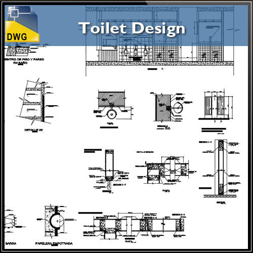 Toilet Design Details - CAD Design | Download CAD Drawings | AutoCAD Blocks | AutoCAD Symbols | CAD Drawings | Architecture Details│Landscape Details | See more about AutoCAD, Cad Drawing and Architecture Details