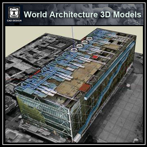 Sketchup 3D Architecture models-  Le Centre Pompidou - CAD Design | Download CAD Drawings | AutoCAD Blocks | AutoCAD Symbols | CAD Drawings | Architecture Details│Landscape Details | See more about AutoCAD, Cad Drawing and Architecture Details