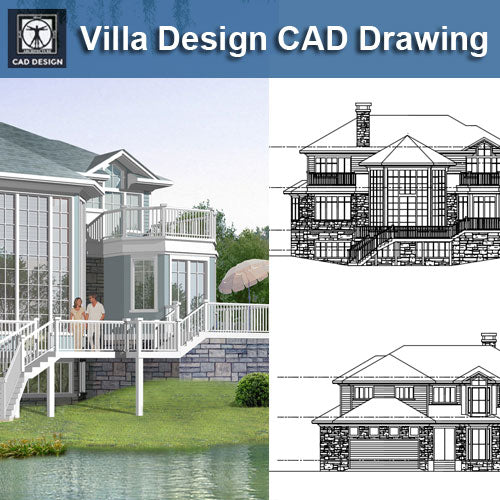 Villa Design CAD Drawings V18 - CAD Design | Download CAD Drawings | AutoCAD Blocks | AutoCAD Symbols | CAD Drawings | Architecture Details│Landscape Details | See more about AutoCAD, Cad Drawing and Architecture Details