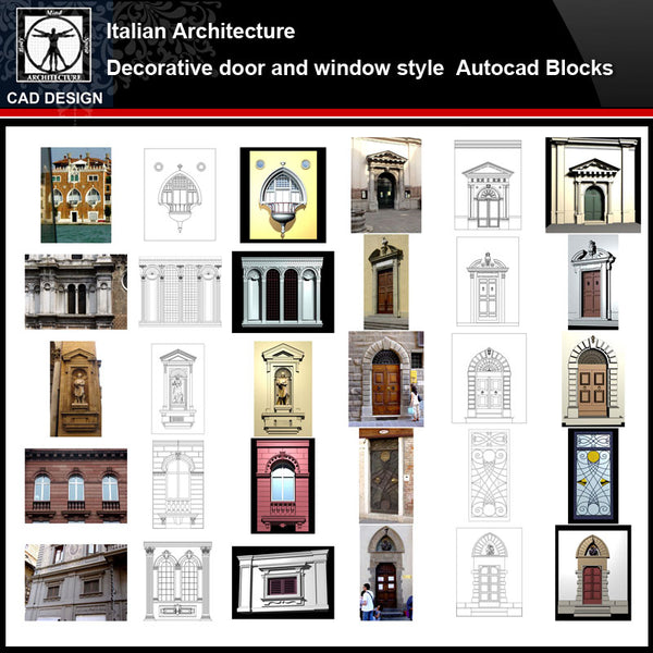 ★【 Italian Architecture Style Design】 Italian architecture · Decorative door and window style CAD Drawings - CAD Design | Download CAD Drawings | AutoCAD Blocks | AutoCAD Symbols | CAD Drawings | Architecture Details│Landscape Details | See more about AutoCAD, Cad Drawing and Architecture Details