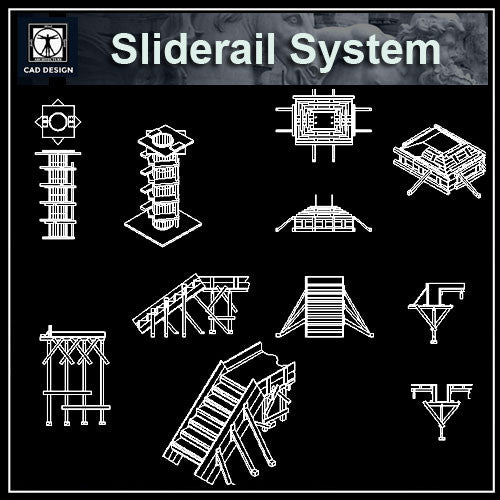 Sliderail System Details - CAD Design | Download CAD Drawings | AutoCAD Blocks | AutoCAD Symbols | CAD Drawings | Architecture Details│Landscape Details | See more about AutoCAD, Cad Drawing and Architecture Details