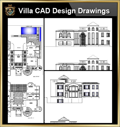 ★【Villa CAD Design,Details Project V.18】Chateau,Manor,Mansion,Villa@Autocad Blocks,Drawings,CAD Details,Elevation