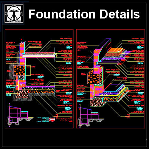 Foundation Details V2 - CAD Design | Download CAD Drawings | AutoCAD Blocks | AutoCAD Symbols | CAD Drawings | Architecture Details│Landscape Details | See more about AutoCAD, Cad Drawing and Architecture Details