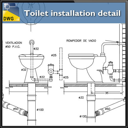 Toilet installation details - CAD Design | Download CAD Drawings | AutoCAD Blocks | AutoCAD Symbols | CAD Drawings | Architecture Details│Landscape Details | See more about AutoCAD, Cad Drawing and Architecture Details