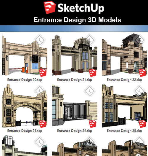 【Sketchup 3D Models】10 Types of European Entrance & Door 3D Models V.3