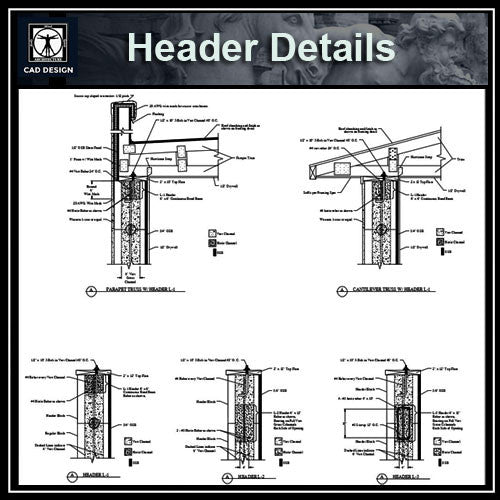 Header Details - CAD Design | Download CAD Drawings | AutoCAD Blocks | AutoCAD Symbols | CAD Drawings | Architecture Details│Landscape Details | See more about AutoCAD, Cad Drawing and Architecture Details
