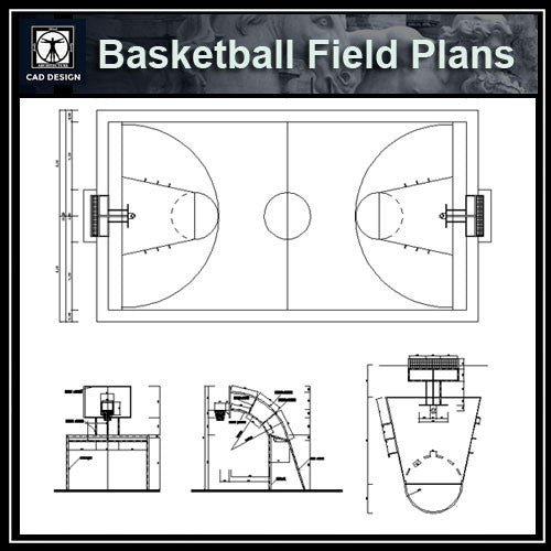 Basketball Field Plans - CAD Design | Download CAD Drawings | AutoCAD Blocks | AutoCAD Symbols | CAD Drawings | Architecture Details│Landscape Details | See more about AutoCAD, Cad Drawing and Architecture Details