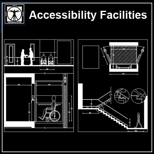 Accessibility Facilities Drawings V4 - CAD Design | Download CAD Drawings | AutoCAD Blocks | AutoCAD Symbols | CAD Drawings | Architecture Details│Landscape Details | See more about AutoCAD, Cad Drawing and Architecture Details