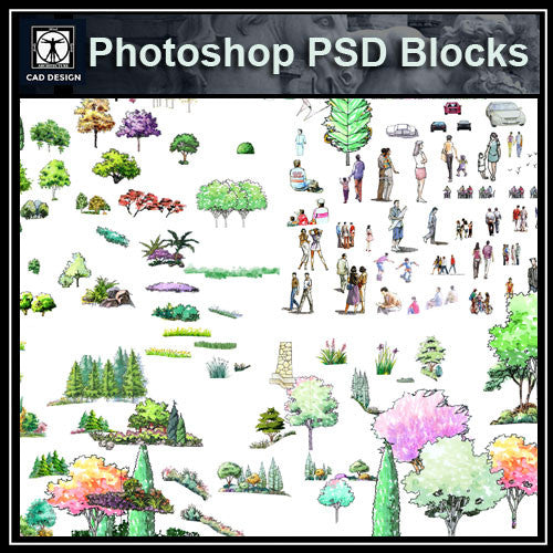 Hand-painted PSD Tree Blocks 4 - CAD Design | Download CAD Drawings | AutoCAD Blocks | AutoCAD Symbols | CAD Drawings | Architecture Details│Landscape Details | See more about AutoCAD, Cad Drawing and Architecture Details
