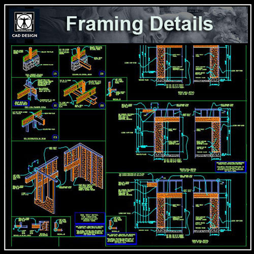Framing Details - CAD Design | Download CAD Drawings | AutoCAD Blocks | AutoCAD Symbols | CAD Drawings | Architecture Details│Landscape Details | See more about AutoCAD, Cad Drawing and Architecture Details