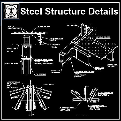 Free Steel Structure Details 1 - CAD Design | Download CAD Drawings | AutoCAD Blocks | AutoCAD Symbols | CAD Drawings | Architecture Details│Landscape Details | See more about AutoCAD, Cad Drawing and Architecture Details