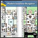 Modern luxurious Bungalow - CAD Design | Download CAD Drawings | AutoCAD Blocks | AutoCAD Symbols | CAD Drawings | Architecture Details│Landscape Details | See more about AutoCAD, Cad Drawing and Architecture Details