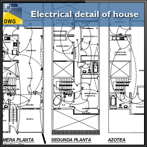 Electrical detail of house in autocad dwg files
