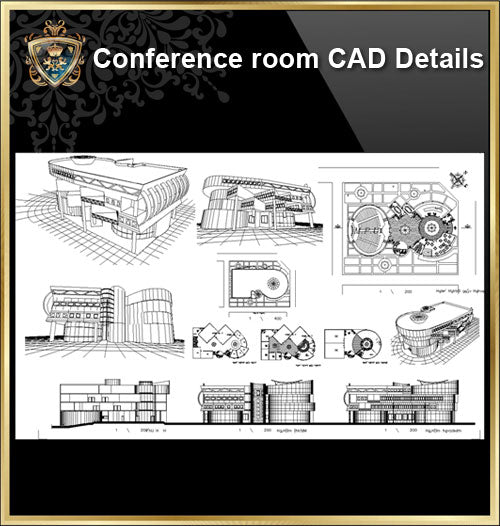 ★【Conference Room CAD Details V.2 】@Conference Room Design,Autocad Blocks,Conference Room Details,Conference Room Section,elevation design drawings