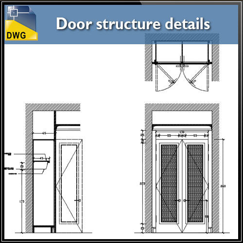 Door structure details - CAD Design | Download CAD Drawings | AutoCAD Blocks | AutoCAD Symbols | CAD Drawings | Architecture Details│Landscape Details | See more about AutoCAD, Cad Drawing and Architecture Details