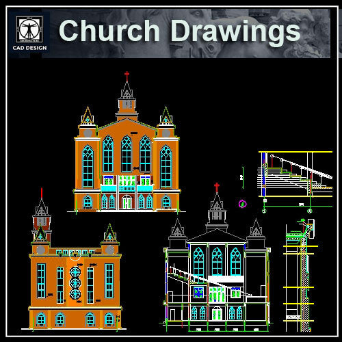 Cathedrals and Church 3 - CAD Design | Download CAD Drawings | AutoCAD Blocks | AutoCAD Symbols | CAD Drawings | Architecture Details│Landscape Details | See more about AutoCAD, Cad Drawing and Architecture Details