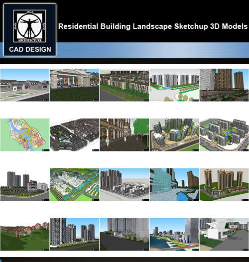【Sketchup 3D Models】20 Types of Residential Building Landscape Sketchup 3D Models  V.9 - CAD Design | Download CAD Drawings | AutoCAD Blocks | AutoCAD Symbols | CAD Drawings | Architecture Details│Landscape Details | See more about AutoCAD, Cad Drawing and Architecture Details