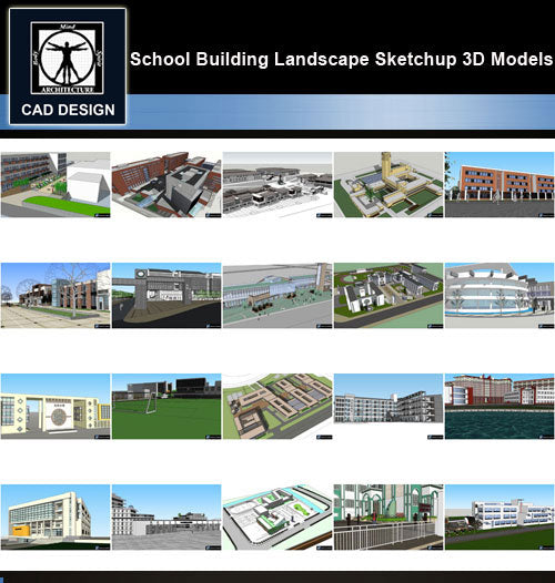 【Sketchup 3D Models】20 Types of School Design Sketchup 3D Models  V.8