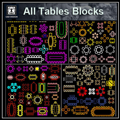All Tables Blocks - CAD Design | Download CAD Drawings | AutoCAD Blocks | AutoCAD Symbols | CAD Drawings | Architecture Details│Landscape Details | See more about AutoCAD, Cad Drawing and Architecture Details