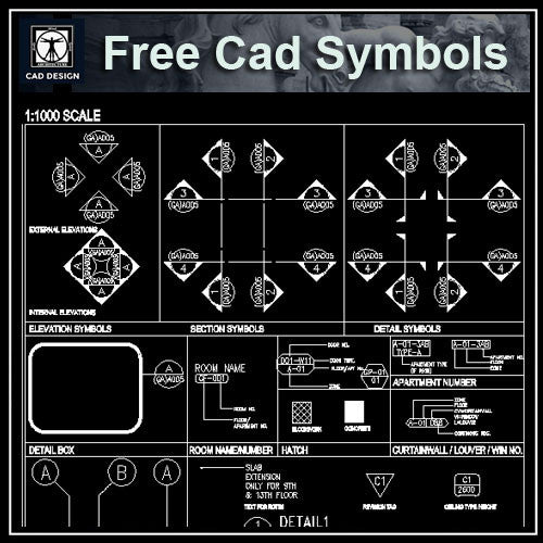 Free CAD Standard Symbols - CAD Design | Download CAD Drawings | AutoCAD Blocks | AutoCAD Symbols | CAD Drawings | Architecture Details│Landscape Details | See more about AutoCAD, Cad Drawing and Architecture Details