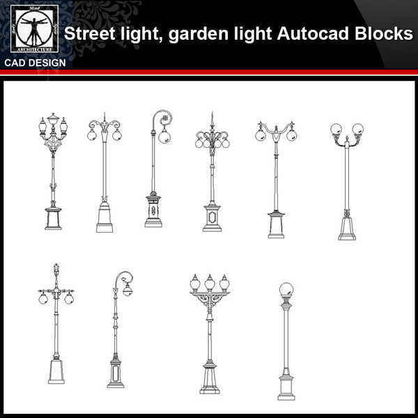 【 Street light,garden light CAD Blocks Collection】Street light,garden light Autocad Blocks - CAD Design | Download CAD Drawings | AutoCAD Blocks | AutoCAD Symbols | CAD Drawings | Architecture Details│Landscape Details | See more about AutoCAD, Cad Drawing and Architecture Details