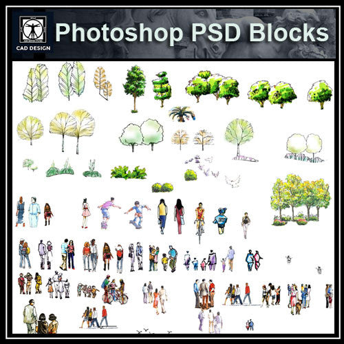 Hand-painted PSD People Blocks 2