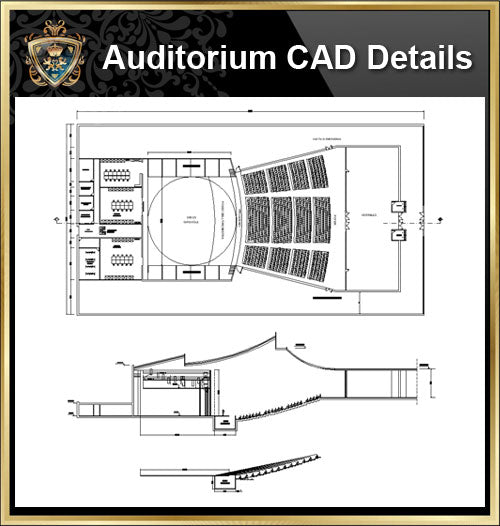 ★【Auditorium CAD Details V.3】@Auditorium Design,Autocad Blocks,AuditoriumDetails,Auditorium Section,Auditorium elevation design drawings