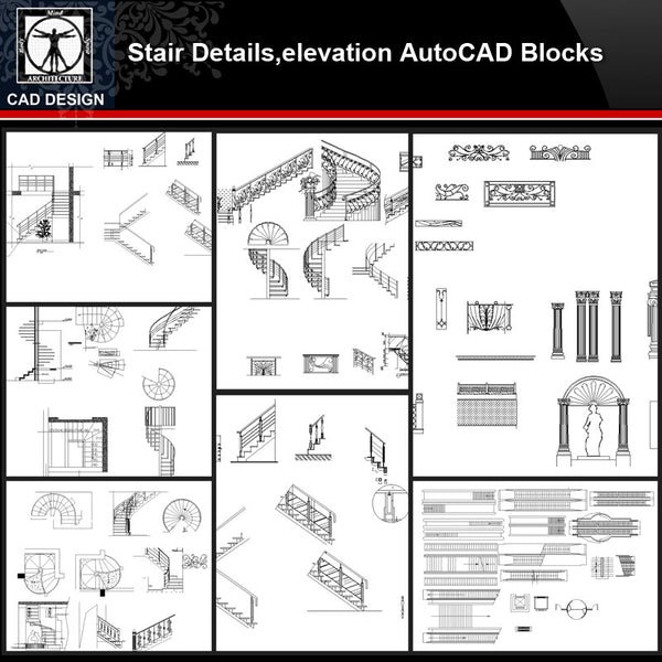 ★【Stair Autocad Blocks,details Collections】All kinds of Stair Design CAD Drawings - CAD Design | Download CAD Drawings | AutoCAD Blocks | AutoCAD Symbols | CAD Drawings | Architecture Details│Landscape Details | See more about AutoCAD, Cad Drawing and Architecture Details
