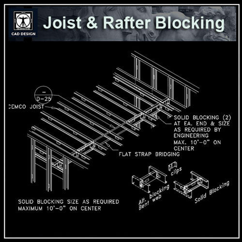 Free CAD Details-Joist & Rafter Blocking - CAD Design | Download CAD Drawings | AutoCAD Blocks | AutoCAD Symbols | CAD Drawings | Architecture Details│Landscape Details | See more about AutoCAD, Cad Drawing and Architecture Details