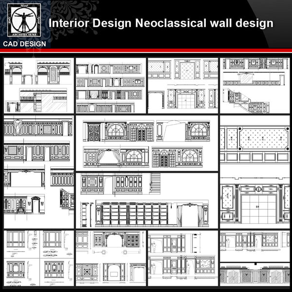 ★【Interior design Neoclassical wall design V1】All kinds of Neoclassical wall design CAD drawings Bundle