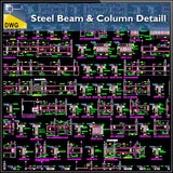 Steel Beam & Column Details - CAD Design | Download CAD Drawings | AutoCAD Blocks | AutoCAD Symbols | CAD Drawings | Architecture Details│Landscape Details | See more about AutoCAD, Cad Drawing and Architecture Details
