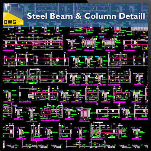 Steel Beam Amp Column Details Cad Design Free Cad Blocks